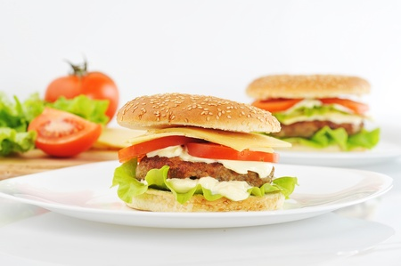 cutlet: hamburger with cutlet and vegetables on dish Stock Photo