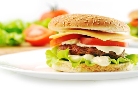 mayo: hamburger with cutlet and vegetables on dish Stock Photo