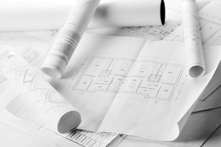 heap of design and project drawings on  table  background. Stock Photo - 9545929
