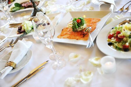 Banquet table setting for wedding dinner Stock Photo - 9721961
