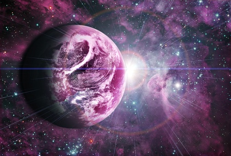 planet in beautiful space Stock Photo