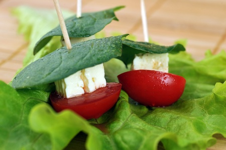 Tasty small sandwich from vegetables and cheese photo