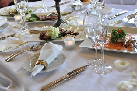 receptions: Banquet table setting for wedding dinner
