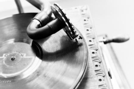 Close up at vintage gramophone. playing old song photo
