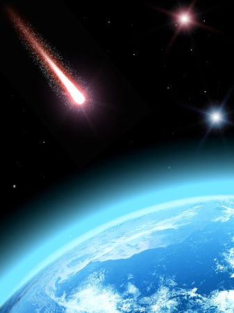 Falling comet and planet earth photo