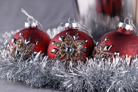 Christmas balls and garland close up photo