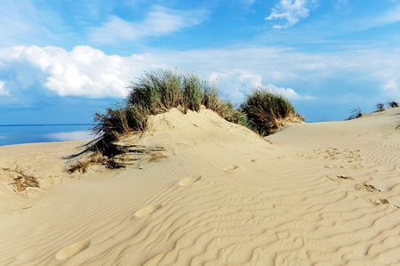 White clouds on blue sky over dunes photo