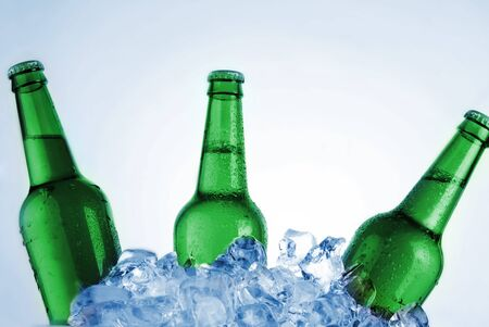 green bottles of beer chilling on ice photo