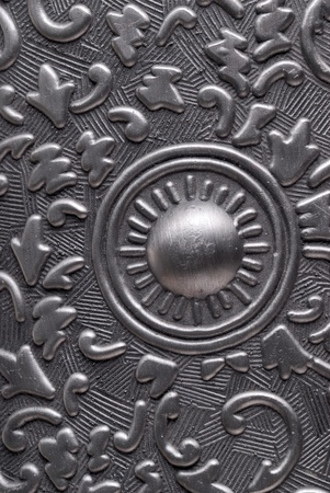 Silver metal plate with classic ornament Stock Photo - 11573713