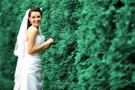concrete steps: young bride walking on  sidewalk  near green bushes