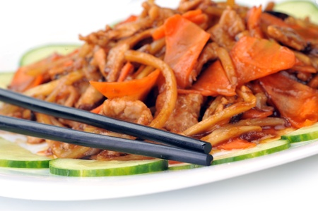 steamed vegetables with meat. Chinese cuisine photo