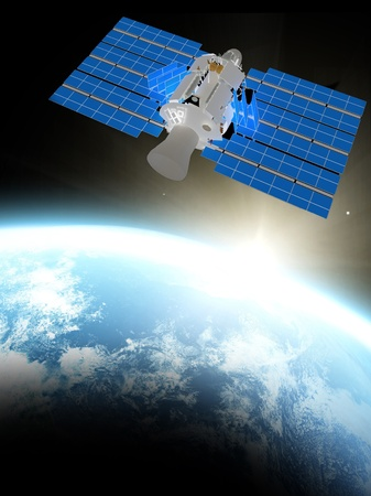 antena parabolica: azul, el planeta tierra y el sat�lite en el espacio.