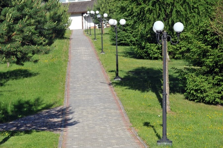 street lights along  path of  park. summers day photo