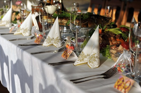 a marriage meeting: gala reception, places ready for guests. table with food and drink Stock Photo