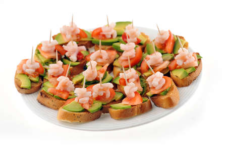 faced: sandwiches  garnish with shrimps, avokado and lettuce on plate, snack