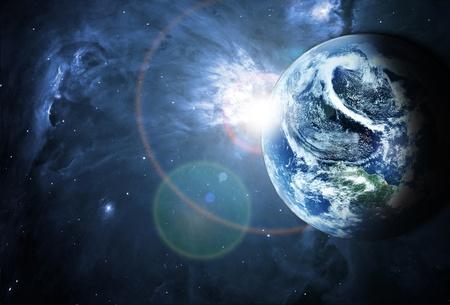 아름다운 공간에서 푸른 행성 스톡 콘텐츠