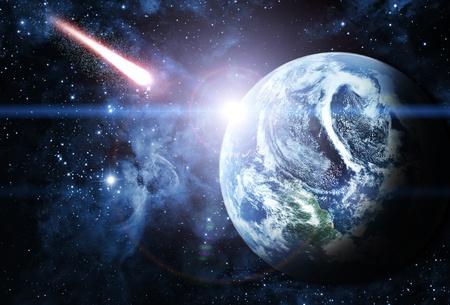 rode planeet in een prachtige ruimte Stockfoto