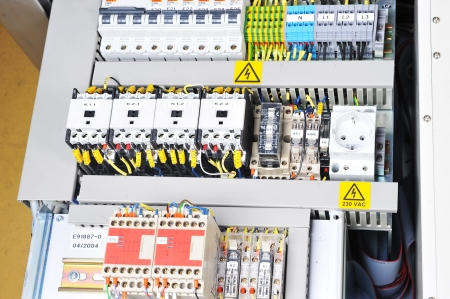 isolator switch: New control panel with  electrical equipment. Automatic electricity switchers