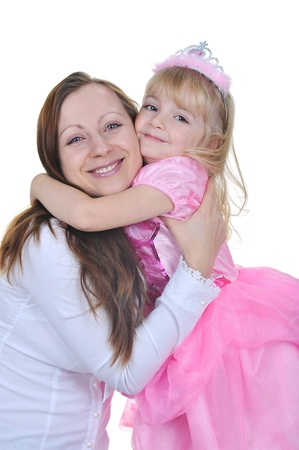 Little girl dressed as princess in pink with  her mother photo