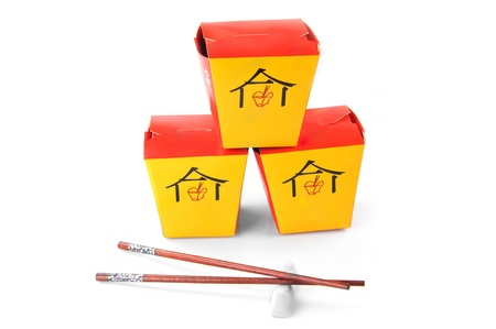 three chinese  containers for fast food and chopsticks photo