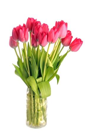 유리 화병에 많은 빨간 튤립의 꽃다발