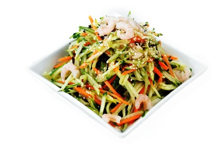 enticing food:  bowl of shrimp and vegetables salad. Chinese cuisine.