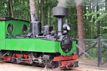 small green old steam locomotive rides on rails photo