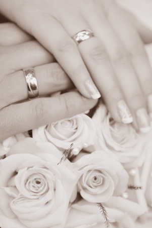 bride and groom hands close up photo