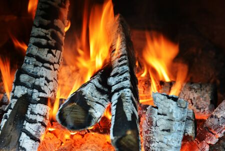 fire in fireplace close up Stock Photo - 15667218