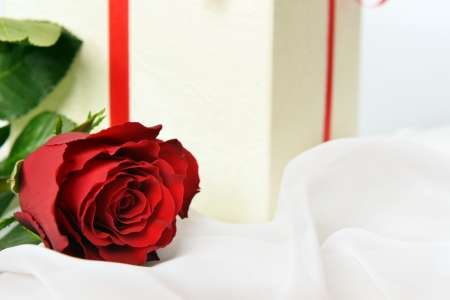 Present box with rose on white silk Stock Photo - 15765246