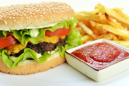 Tasty and appetizing hamburger with fries on white plate  photo