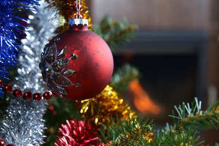 Christmas tree decorations in  interior with  fireplace  Stock Photo