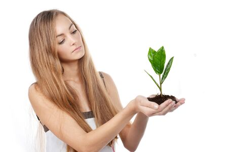 Beautiful young woman with green sprout of tree in her palms Stock Photo - 16775863