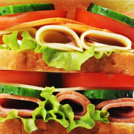 Fresh and tasty sandwich close up photo
