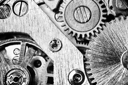 clock gears: watch mechanism very close up Stock Photo