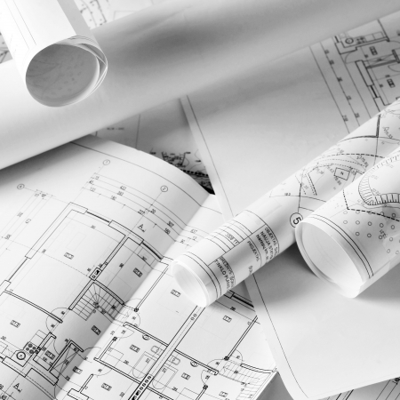heap of design and project drawings on  table  background. Stock Photo - 18729996