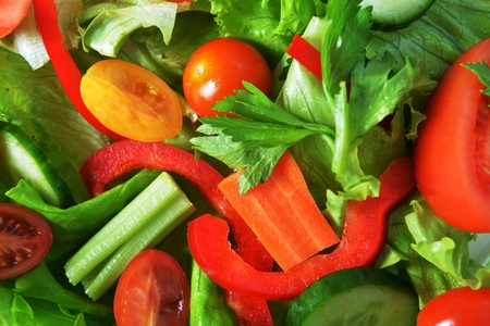 salad with lettuce and fresh vegetable close up photo