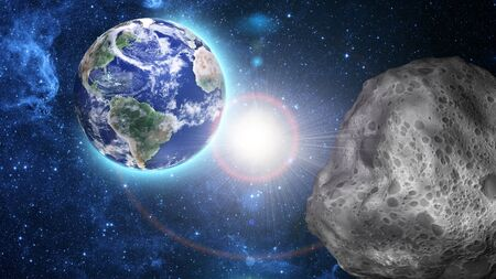 asteroid: asteroid approaching to earth Stock Photo