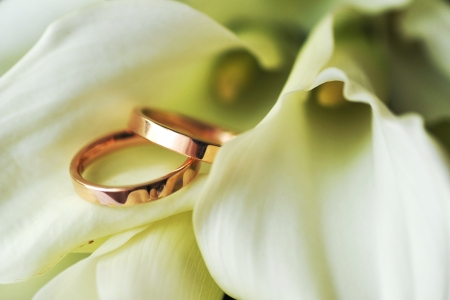 wedding accessories: bride bouquet and wedding rings Stock Photo