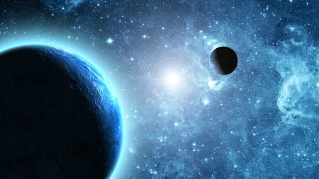 stratosphere: Earth and moon in space