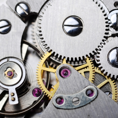 watch gears very close up photo