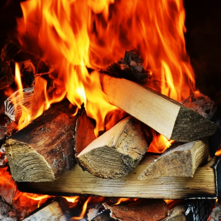 fire in fireplace close up Stock Photo