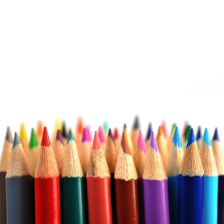 Assortment of coloured pencils isolated  photo