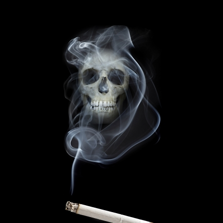 appears: human scull appears in cigarette smoke Stock Photo