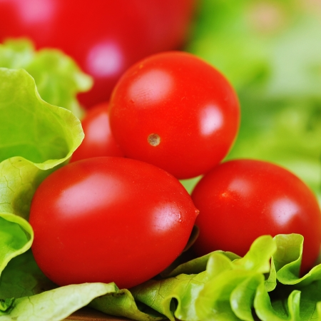 ripe and juicy cherry tomatoes and lettuce photo