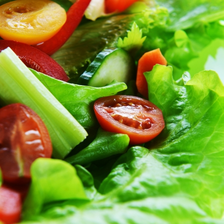 salad with lettuce and fresh vegetable close up Stock Photo