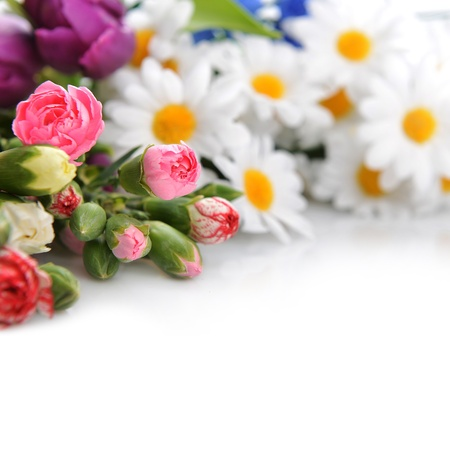 Close up of bouquet of colorful carnation and other  flowers photo