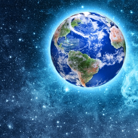 blue planet in beautiful space Stock Photo - 21740860