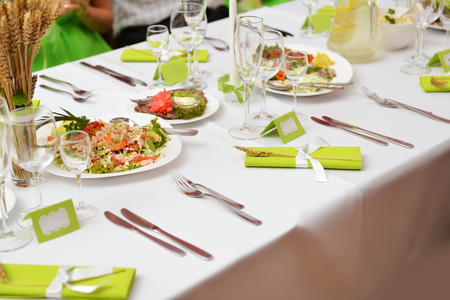 banquet table: Wedding reception place ready for guests. Stock Photo