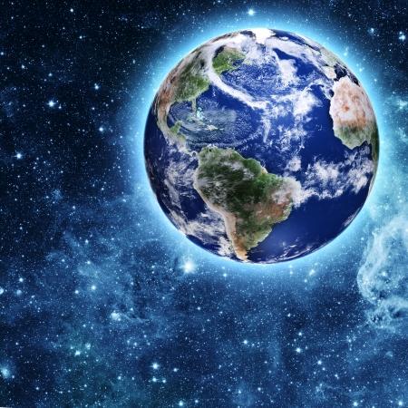 blauwe planeet in een prachtige ruimte Stockfoto
